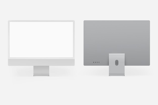 Gray minimal computer desktop screen digital device with design space