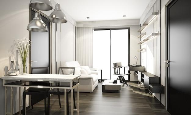 회색 최소한의 현대 고전적인 스타일의 인테리어 디자인 콘도의 거실 및 식사 공간, 큰 창문이있는 아파트 3d 렌더링
