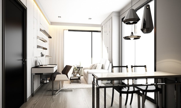 Gray minimal modern classic style interior design living and dining area in condominium, apartment with big windows 3d rendering