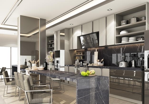 Gray modern contemporary kitchen with kitchen equipment and island counter black marble on wooden floor. 3d rendering