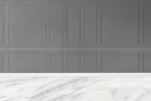 Gray patterned wall mockup with marble floor