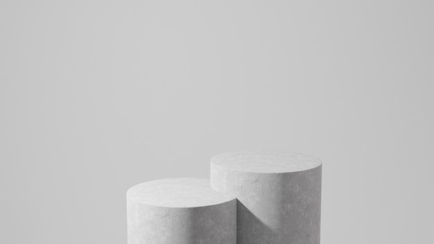 Gray pedestals on a gray background