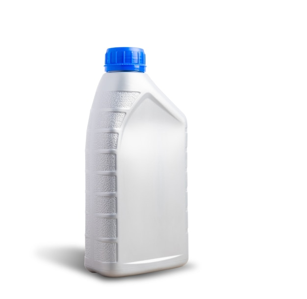 Серая пластиковая банка машинная бутылка для смазочного масла 1 литр