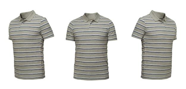 ストライプのグレーのポロシャツ。白い背景の上の3つの位置のtシャツ正面図