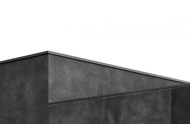 Gray scale shot of a geometrical gray wall