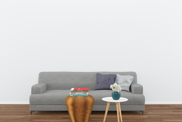 Gray sofa dark wood floor living room interior background template mock up