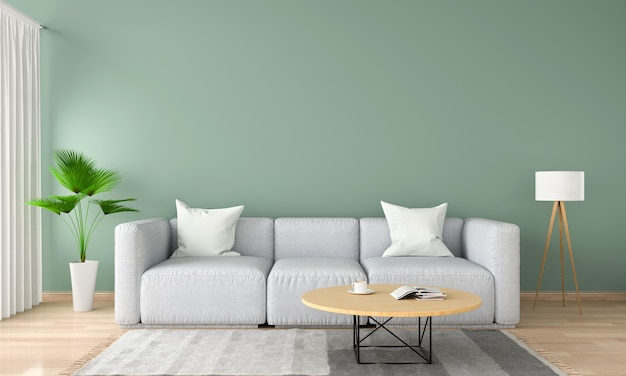 Gray sofa in green living room, 3d rendering