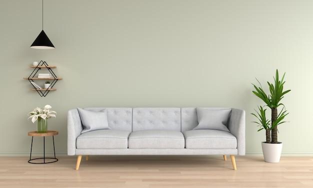 Gray sofa in green living room
