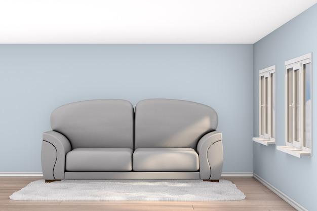 거실에 회색 소파. 3d 일러스트레이션