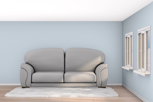 Gray sofa in living room. 3d illustration