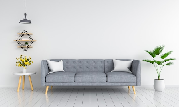 Gray sofa in living room for mockup