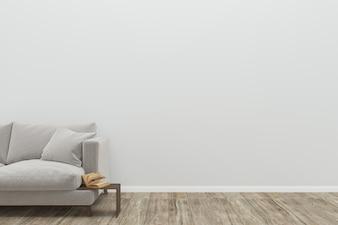 Gray sofa living room old wood floor background texture 3D