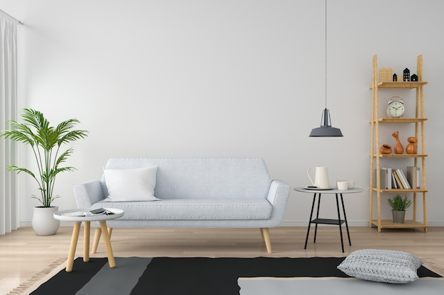 Gray sofa and pillow in white living room