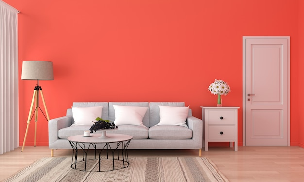 Gray sofa and table in orange living room,