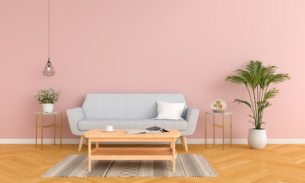 Gray sofa and table in pink living room
