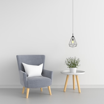 Gray sofa and table in white room