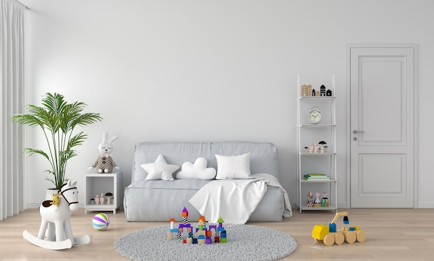 Gray sofa in white child room interior