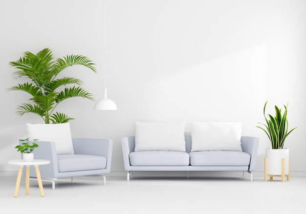 Gray sofa in white living room interior with free space