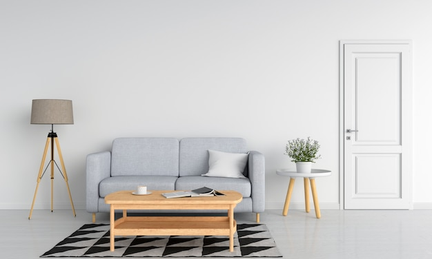 Gray sofa and wood table in white living room