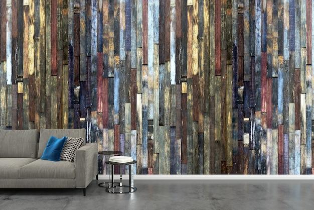 灰色のソファの木の壁白いコンクリートの床の背景テクスチャ