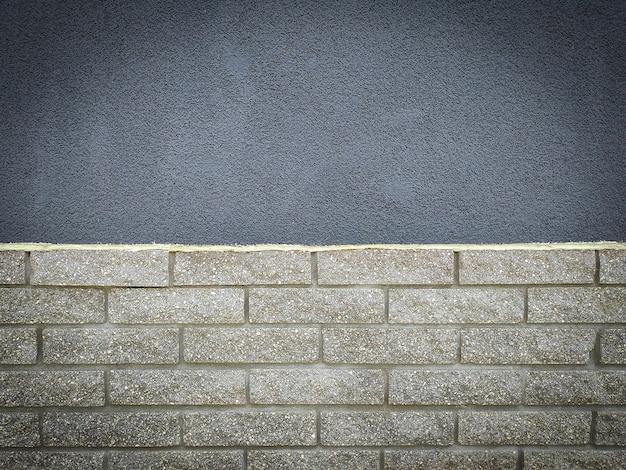 회색 돌 그런 지와 벽돌 벽 텍스처 - 근접 촬영