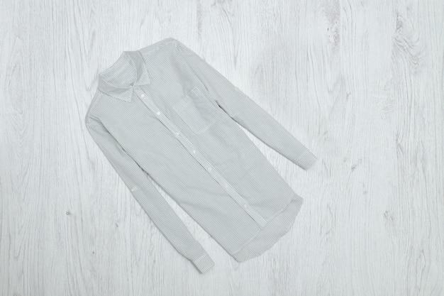 Gray striped shirt. fashionable concept
