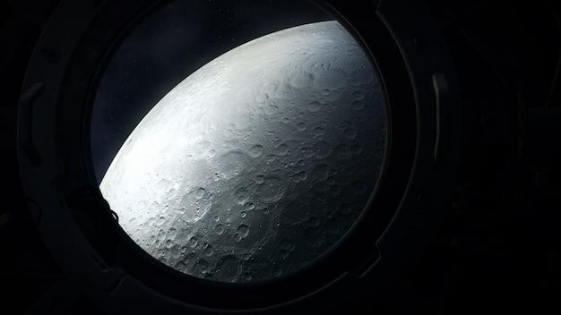 The gray surface of the moon from the porthole of a spacecraft