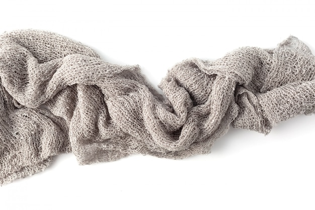 Gray towels on white background