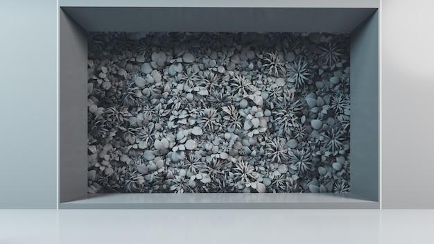 Серый вертикальный сад фон, 3d визуализация