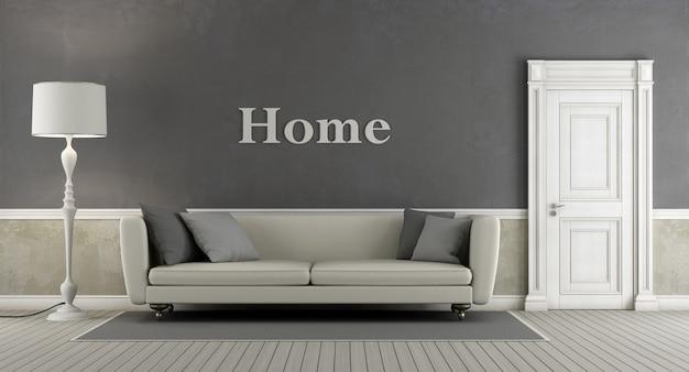閉じたドアとエレガントなソファのある灰色のヴィンテージリビングルーム。 3dレンダリング