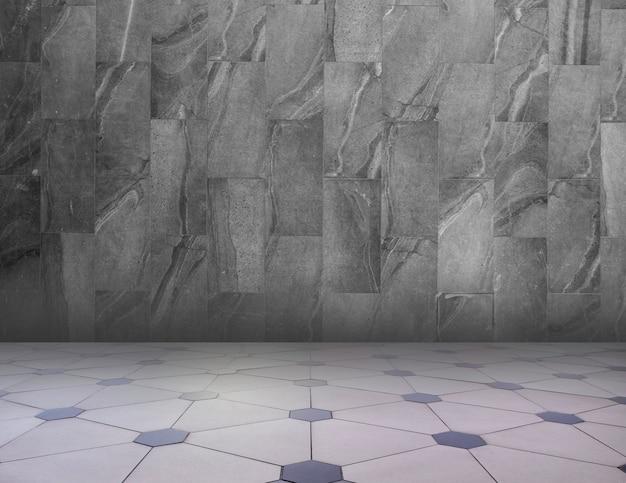 グレー/ホワイトの抽象的な幾何学的なテクスチャ背景。幾何学模様の床と花崗岩の壁。