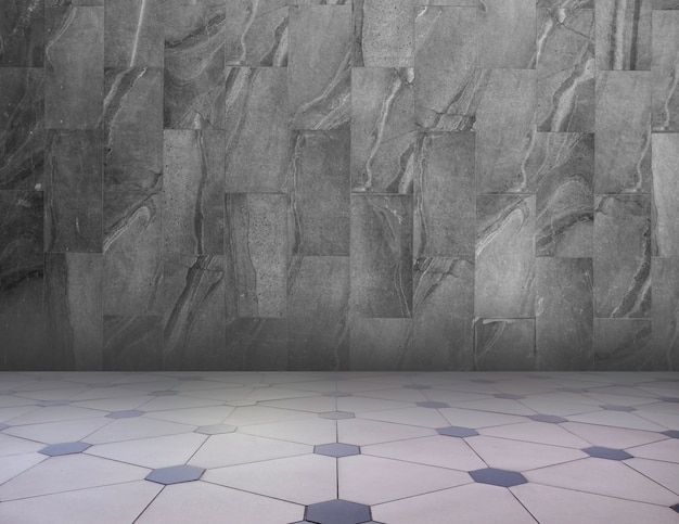 Gray / white abstract geometric texture background. geometric pattern floor and granite wall.