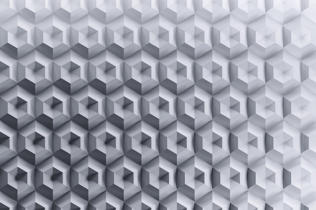 複雑な六角形の繰り返し形状を持つgraybackgroundの幾何学的な未来的なハニカムパターン。