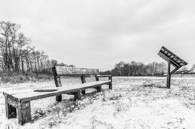 Grayscale shot of benches on a field covered in snow under a cloudy sky