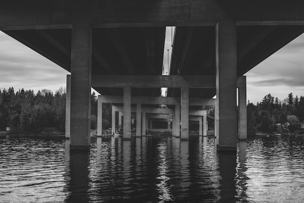 Grayscale shot from below of the bridge over the water in seattle wa