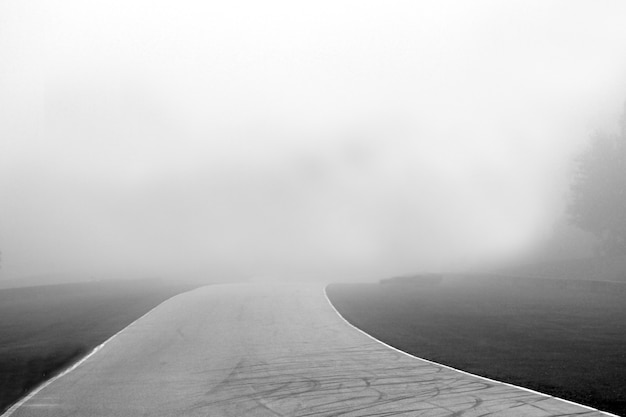 Снимок дорожки в оттенках серого на туманном фоне