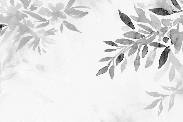 회색조 수채화 잎 배경 아름다운 꽃 그림