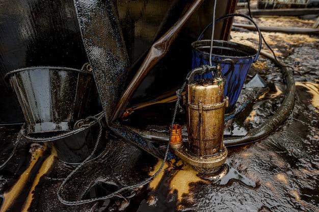Greasy oil tools and polluting environment at samet island, rayong, thailand