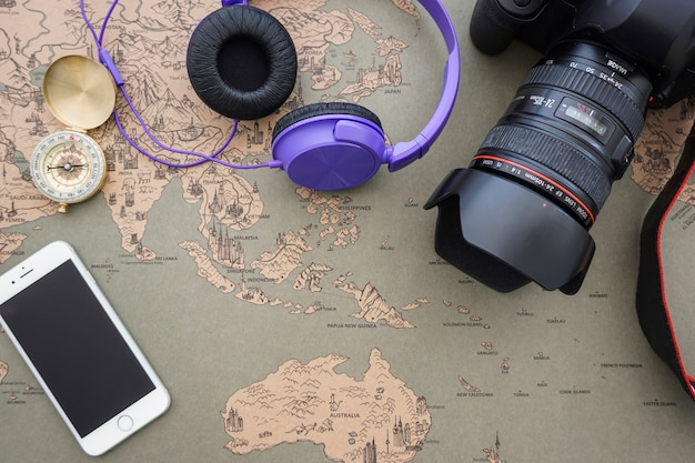 Great background with variety of travel objects