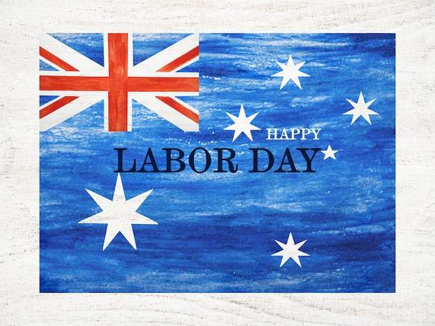 碑文の幸せな労働者の日のイギリスの旗
