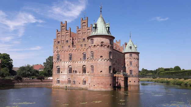 The great castle building in the lake