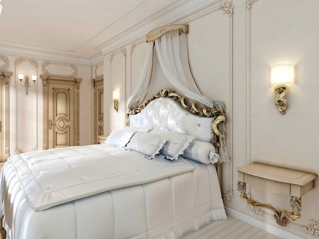 멋진 클래식 4주식 침대와 부드러운 흰색 이불, 베개와 교수형 캐비닛. 3d 렌더링.