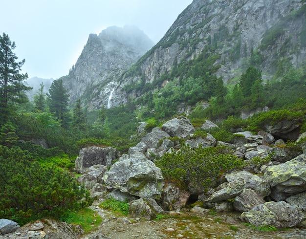 The great cold valley (velka studena dolina) summer cloudy view. high tatras, slovakia.