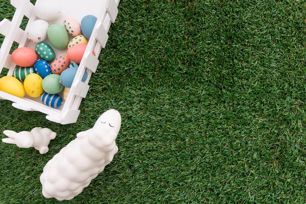 Great composition with easter elements and grass background