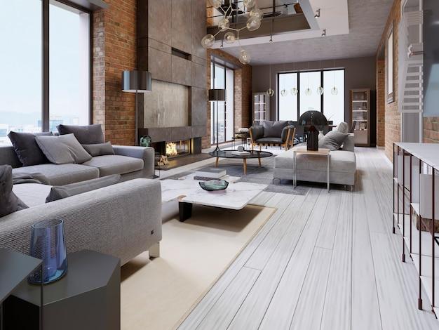 Великолепный дизайн квартир в стиле лофт с кирпичной стеной и мягкой мебелью и большими панорамными окнами. 3d рендеринг