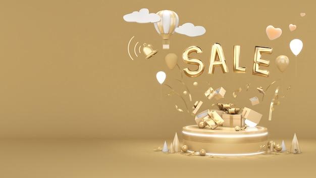 素晴らしい割引セールバナーデザイン、ゴールドの背景に素晴らしい値札、3dレンダリング
