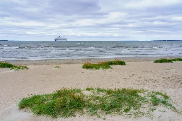 人けのないビーチで海の地平線を越えて迷子になる素晴らしいフェリー。