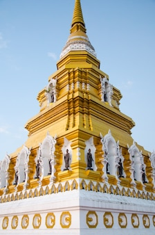 Great golden pagoda with blue sky background