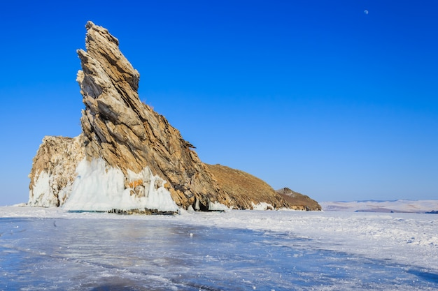 Great  landscape in winter baikal lake, siberia, russia.