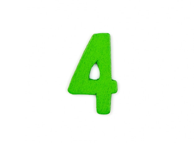 Great number 4 made of wood